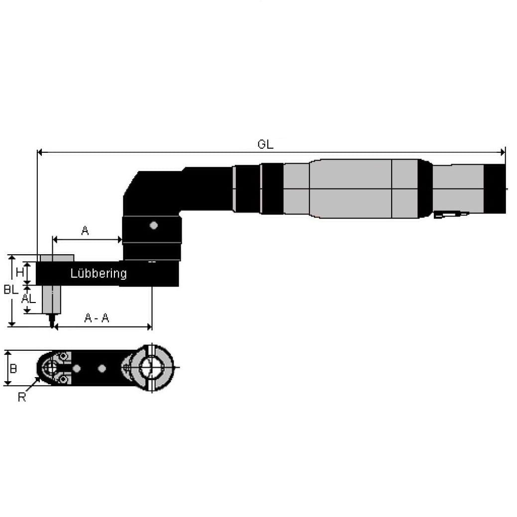 Lubbering 90 deg installation tool Hi-Lok 25mm long 5/16