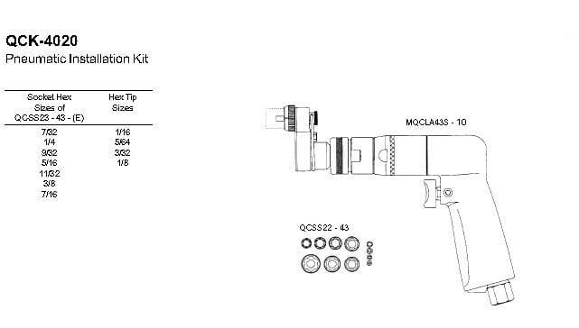 QCK-4020 Hi-Lok  Pneumatic Instalation Tool Kit